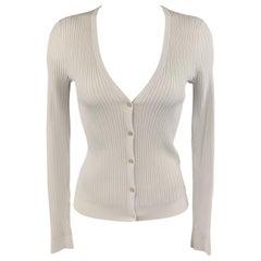 RALPH LAUREN Size S White Ribbed Knit V Neck Cardigan
