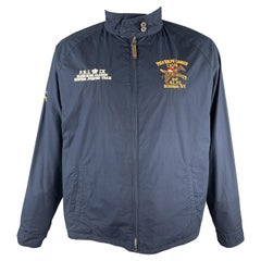 RALPH LAUREN Size XL Navy Embroidery Cotton Full Zip Reversible Jacket