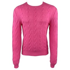RALPH LAUREN Size XS Pink Cable Knit Cashmere Crew-Neck Pullover