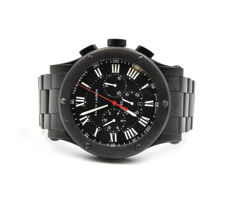 Ralph Lauren Black Matte Ceramic Sporting Chronograph automatic Wristwatch  In Excellent Condition For Sale In Scottsdale, AZ