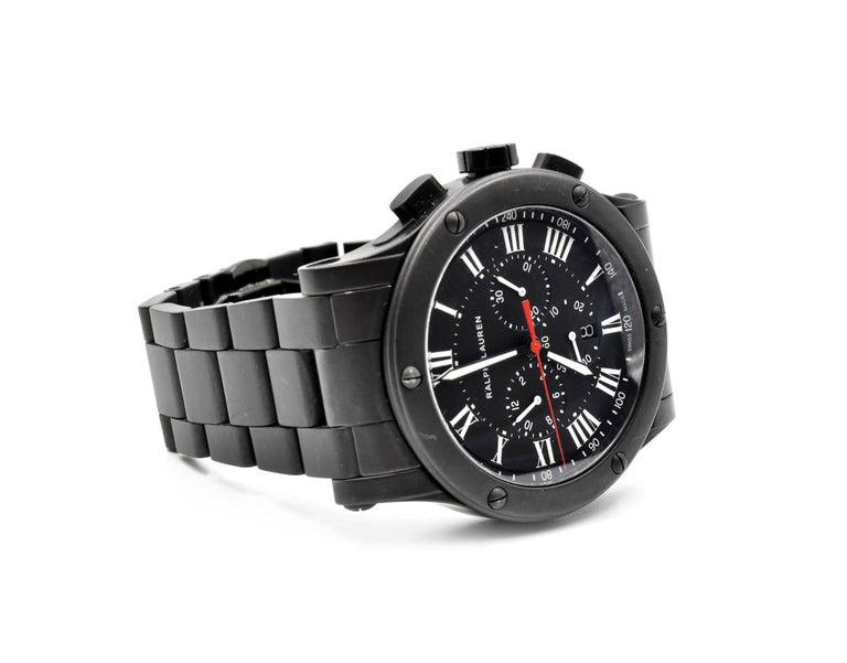 Men's Ralph Lauren Black Matte Ceramic Sporting Chronograph automatic Wristwatch  For Sale