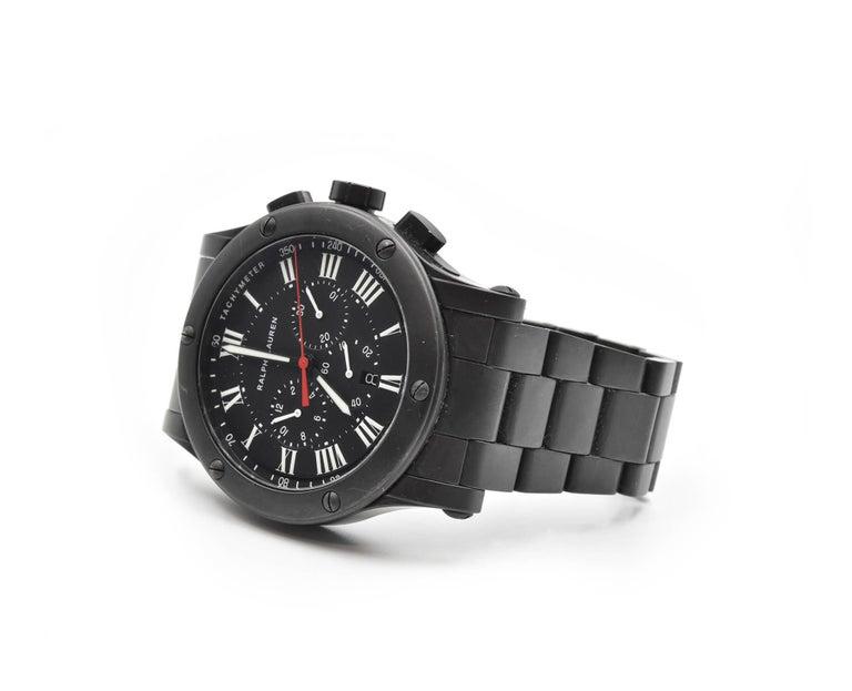 Ralph Lauren Black Matte Ceramic Sporting Chronograph automatic Wristwatch  For Sale 1