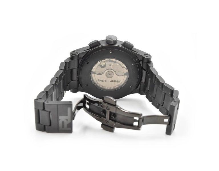 Ralph Lauren Black Matte Ceramic Sporting Chronograph automatic Wristwatch  For Sale 2
