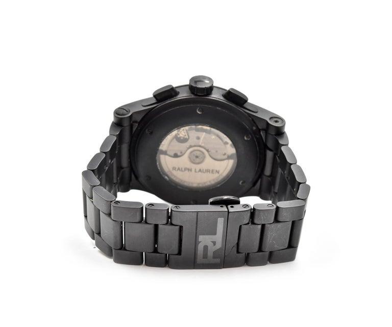 Ralph Lauren Black Matte Ceramic Sporting Chronograph automatic Wristwatch  For Sale 3