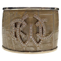 Ralph Lauren Sterling & Leather Cuff Bracelet
