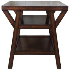 Ralph Lauren Traditional Distressed Mahogany Square Tiered Side Accent Table