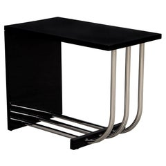 Ralph Lauren Tubular Polished Stainless Steel and Black Lacquer End Table
