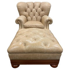 Ralph Lauren Tufted Beige Leather and Mahogany Writer's Club Chair and Ottoman