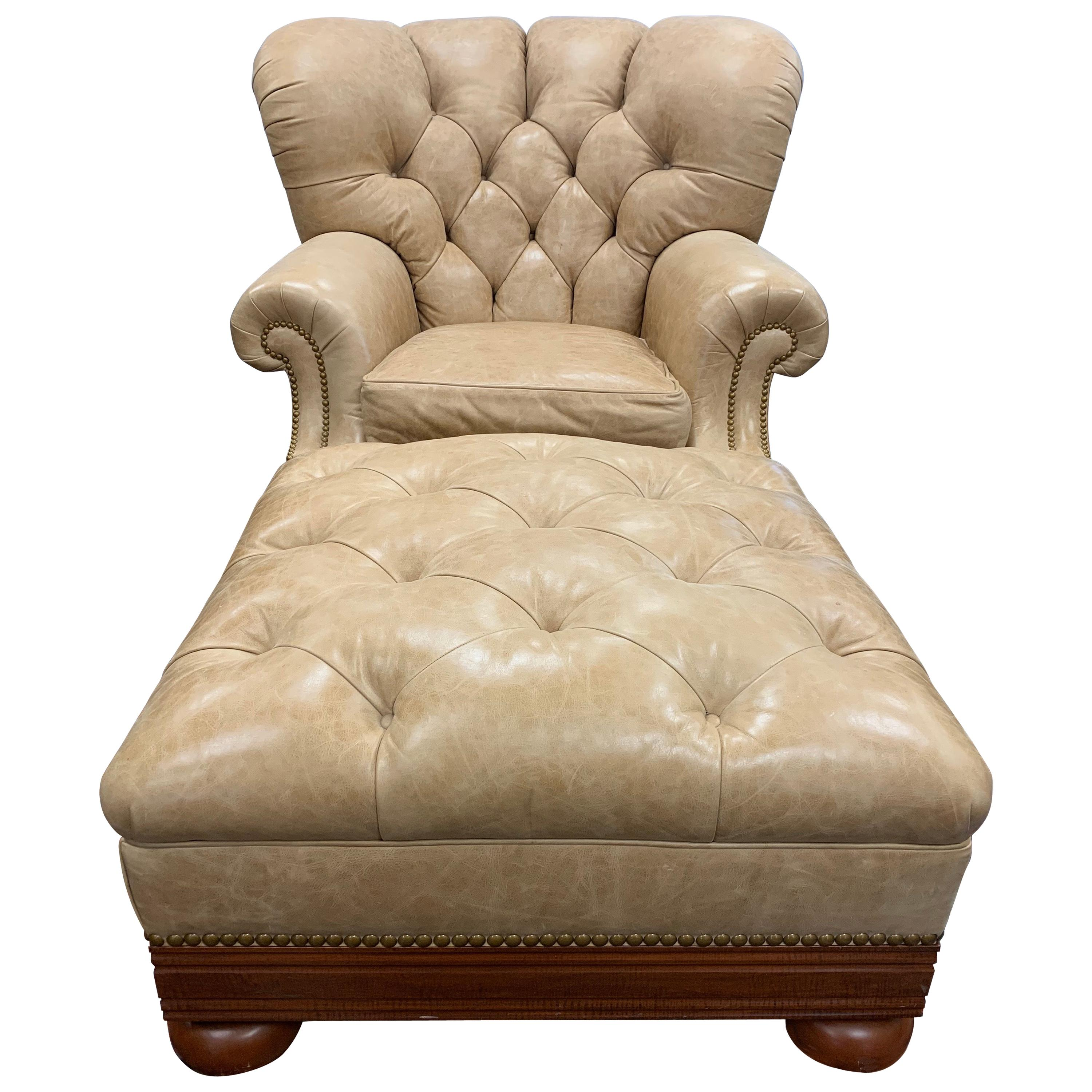 Ralph Lauren Tufted Beige Leather And Mahogany Writer S Club Chair And Ottoman