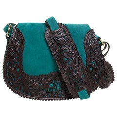 Ralph Lauren Turquoise Suede aand Leather Embroidered Saddle Bag