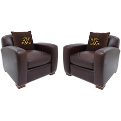 Ralph Lauren Vintage Grant Armchair Set in High Quality Dark Brown Leather