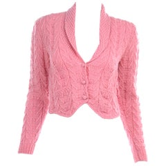 Ralph Lauren Vintage Pink Wool Cardigan Knit Sweater Made in Italy