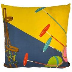 Ralph Lauren Vintage Blue and Yellow Silk Polo Pillow