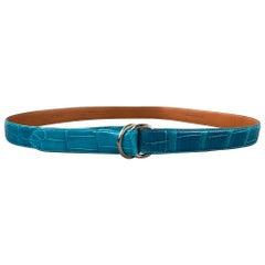 RALPH LAUREN Waist Size M Turquoise Alligator Double Ring Belt