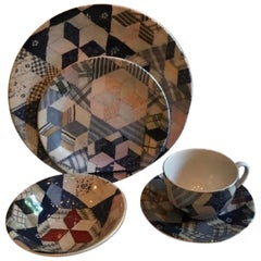 Ralph Lauren Wedgwood Patchwork Dinnerware ~ 4 Place Settings