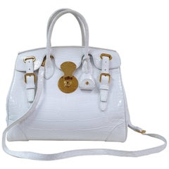 Ralph Lauren White Alligator Ricky Bag