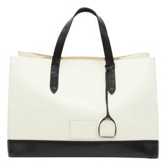 Ralph Lauren White & Black Leather Tote Bag