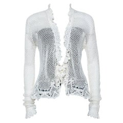 Ralph Lauren White Crochet Hand Knitted Cardigan M