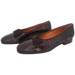 Ralph Lauren Wild Crocodile Leather Ballet Flats With Wooden Sole. New. Size 39