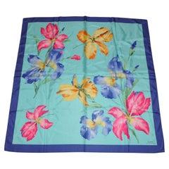 "Ralph Lauren Wonderfully Beautiful ""Summer Orchid Bloom"" Silk Scarf"