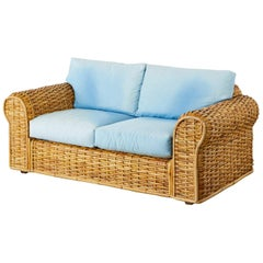 Ralph Lauren Woven Rattan Settee with Blue Ombre Upholstery