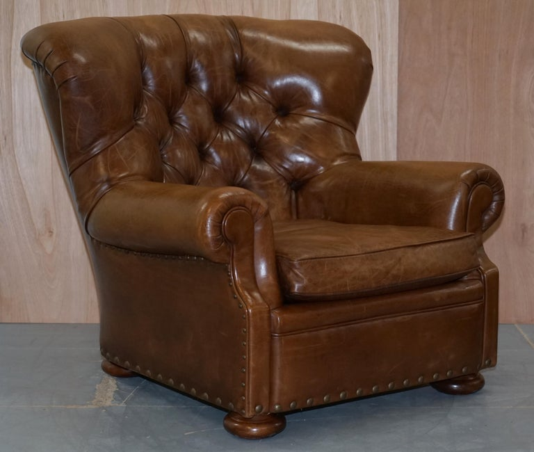 Ralph Lauren Writer's Aged Brown Leather Armchair and ...