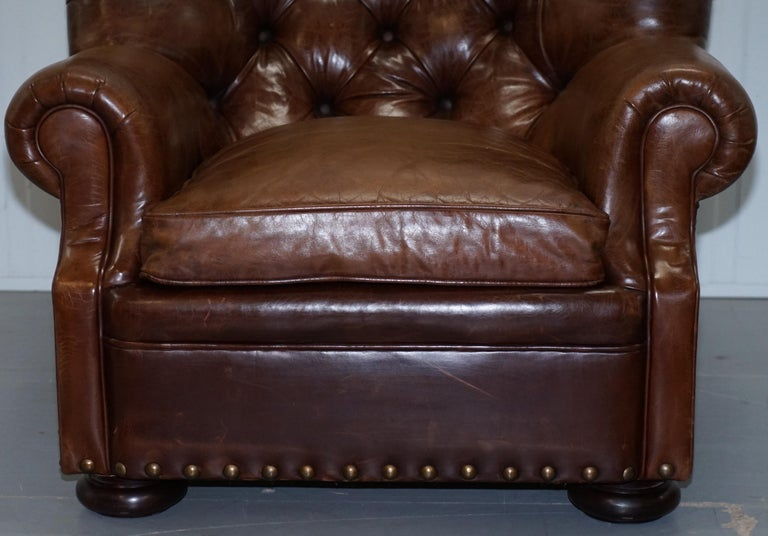 Ralph Lauren Writer S Aged Brown Leather Armchair And
