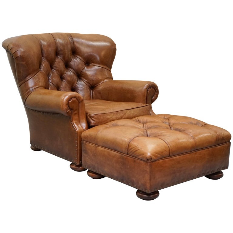 Terrific Ralph Lauren Writers Aged Brown Leather Armchair And Footstool Ottoman Forskolin Free Trial Chair Design Images Forskolin Free Trialorg