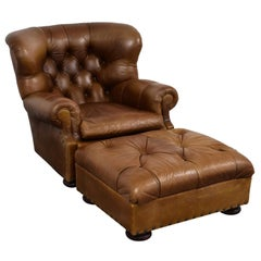 Ralph Lauren Writer's Chestnut Brown Leather Wingback Armchair and Ottoman Set
