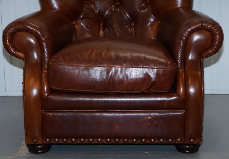 Ralph Lauren Writer's Style Aged Vintage Deep Brown Heritage Leather Armchair For Sale 3