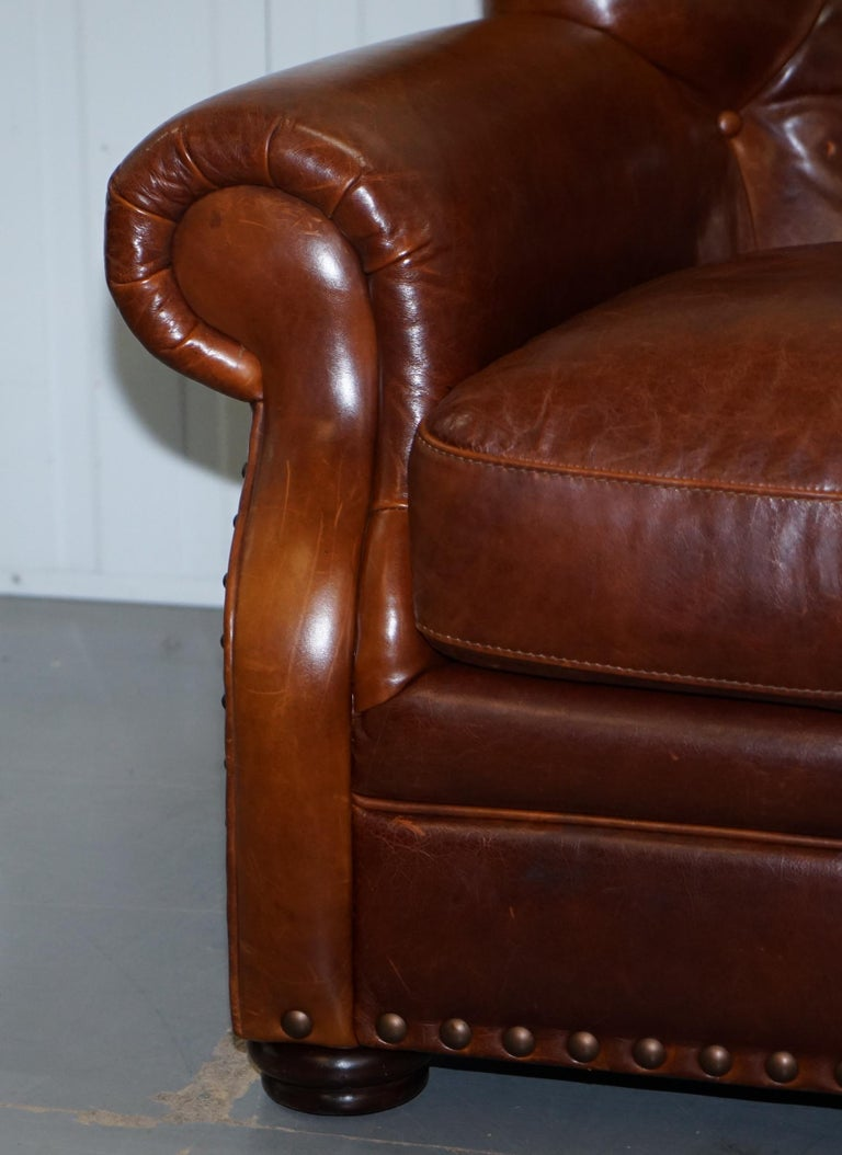 Ralph Lauren Writer's Style Aged Vintage Deep Brown Heritage Leather Armchair For Sale 4