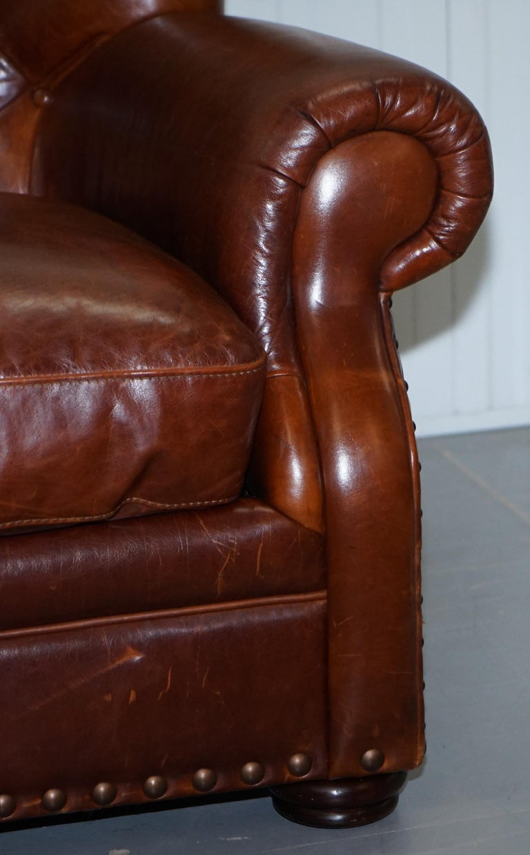Ralph Lauren Writer's Style Aged Vintage Deep Brown Heritage Leather Armchair For Sale 5