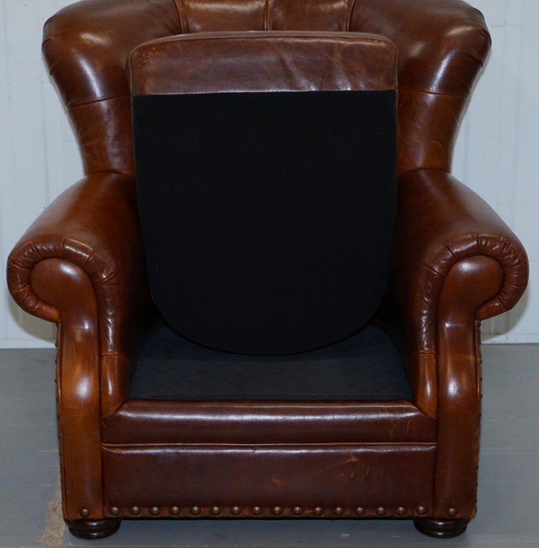 Ralph Lauren Writer's Style Aged Vintage Deep Brown Heritage Leather Armchair For Sale 6
