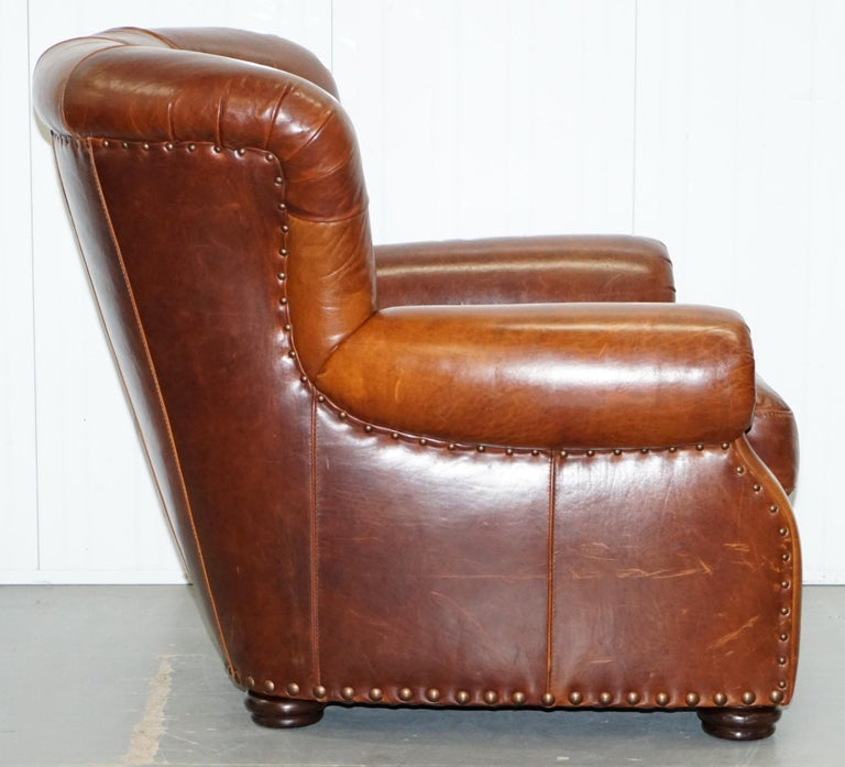 Ralph Lauren Writer's Style Aged Vintage Deep Brown Heritage Leather Armchair For Sale 7
