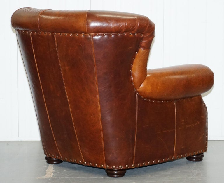 Ralph Lauren Writer's Style Aged Vintage Deep Brown Heritage Leather Armchair For Sale 8