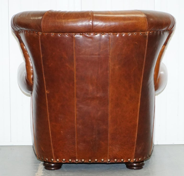 Ralph Lauren Writer's Style Aged Vintage Deep Brown Heritage Leather Armchair For Sale 9