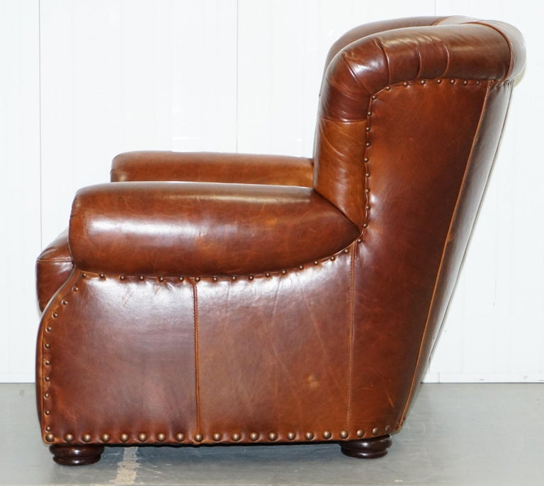 Ralph Lauren Writer's Style Aged Vintage Deep Brown Heritage Leather Armchair For Sale 10