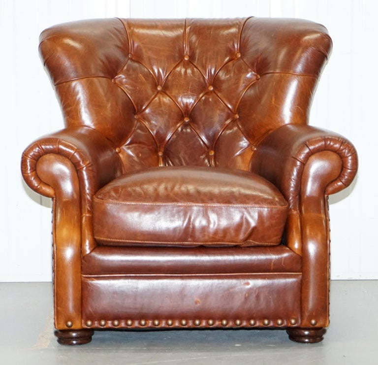 We are delighted to offer this Ralph Lauren Writers style aged brown vintage leather armchair   A fantastic iconic armchair, the original has graced many a front page in its time.  A very good looking and well-made piece in lightly restored