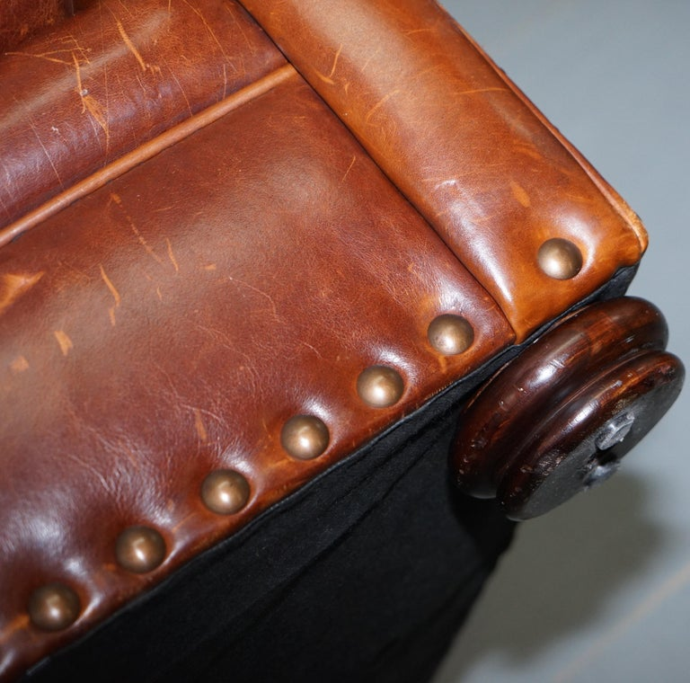Ralph Lauren Writer's Style Aged Vintage Deep Brown Heritage Leather Armchair For Sale 13