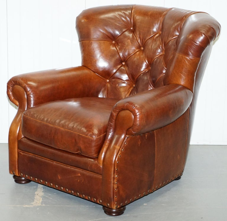 Modern Ralph Lauren Writer's Style Aged Vintage Deep Brown Heritage Leather Armchair For Sale