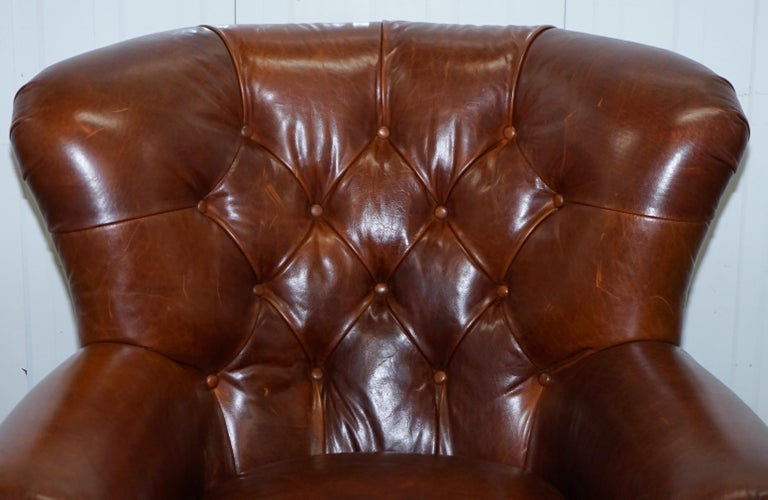 English Ralph Lauren Writer's Style Aged Vintage Deep Brown Heritage Leather Armchair For Sale