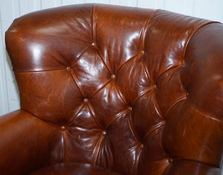 Hand-Crafted Ralph Lauren Writer's Style Aged Vintage Deep Brown Heritage Leather Armchair For Sale