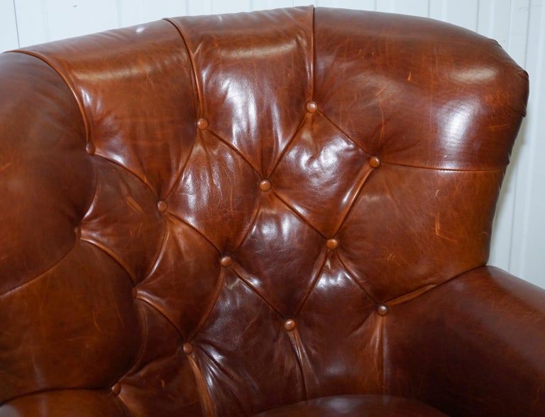 Ralph Lauren Writer's Style Aged Vintage Deep Brown Heritage Leather Armchair In Good Condition For Sale In London, GB