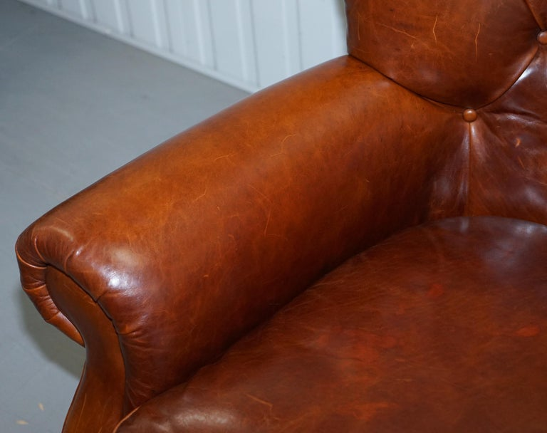 Ralph Lauren Writer's Style Aged Vintage Deep Brown Heritage Leather Armchair For Sale 1