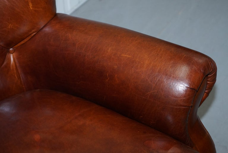 Ralph Lauren Writer's Style Aged Vintage Deep Brown Heritage Leather Armchair For Sale 2