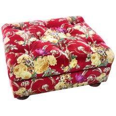 Ralph Lauren x Henredon Writer's Ottoman, Custom Red Velvet Floral, Bun Feet