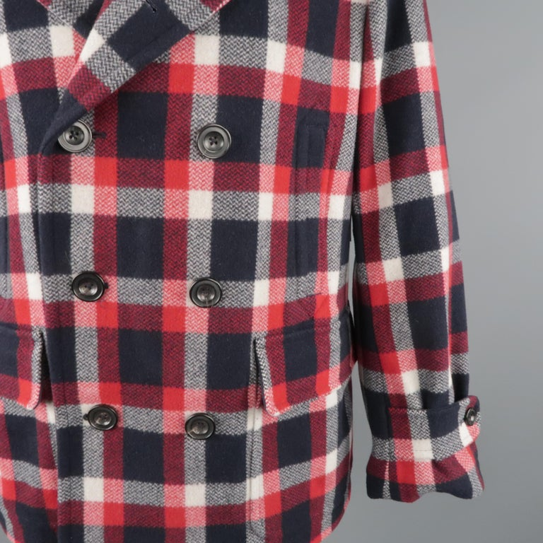 Black RALPH LAUREN XL Red White Blue Plaid Wool / Nylon Double Breasted Peacoat For Sale