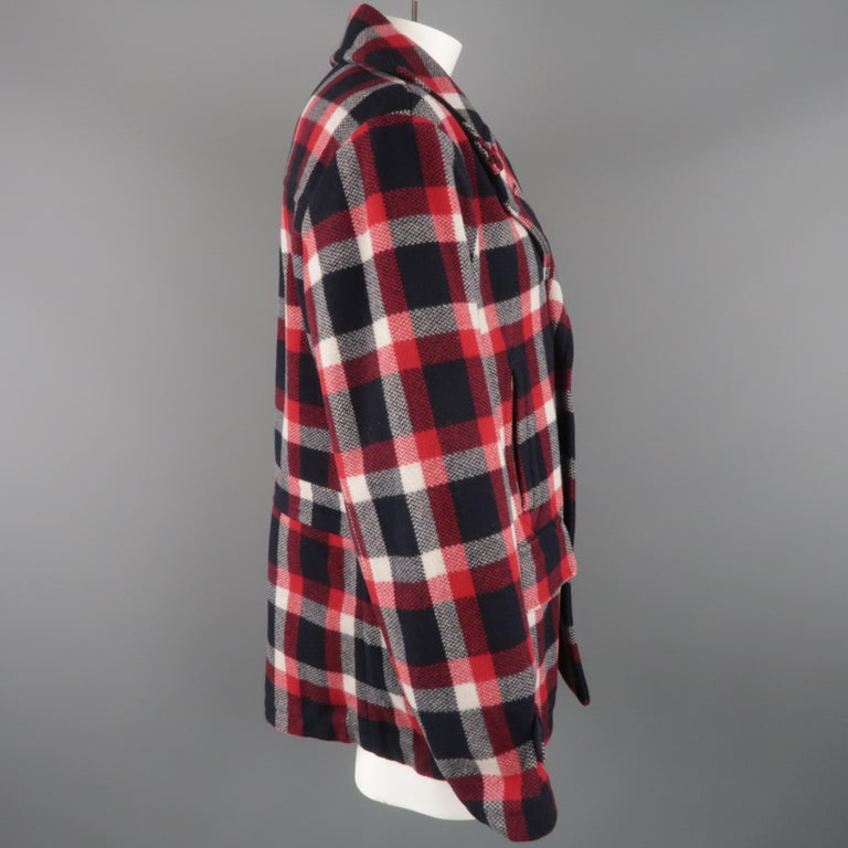 RALPH LAUREN XL Red White Blue Plaid Wool / Nylon Double Breasted Peacoat In Excellent Condition For Sale In San Francisco, CA