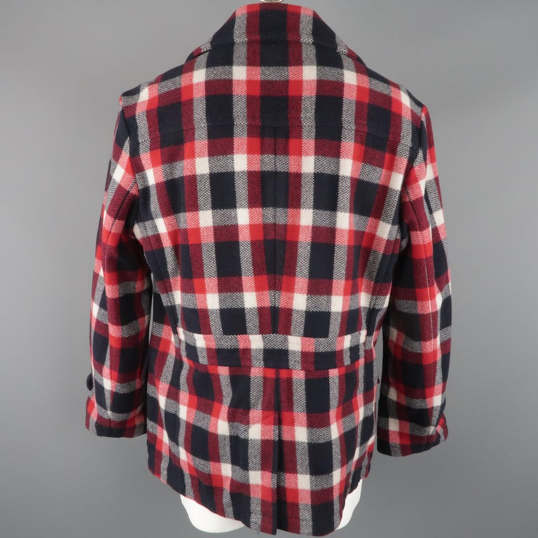 Men's RALPH LAUREN XL Red White Blue Plaid Wool / Nylon Double Breasted Peacoat For Sale