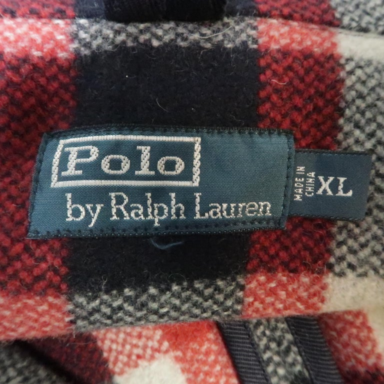 RALPH LAUREN XL Red White Blue Plaid Wool / Nylon Double Breasted Peacoat For Sale 1